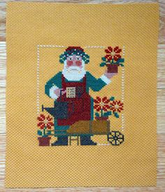 Completed Primitive Cross Stitch Needlework - Santa - Hand Stitched from a Design by The Prairie Schooler