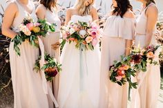 Tropical boho protea bouquets for the bride + bridesmaids