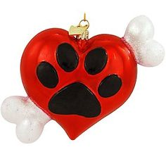 Here's A Heart ornament from Noble Gems.  It's a glass heart with a paw print & dog bone ornament. Dog Ornaments, Heart Ornament, How To Make Ornaments, Glass Ornaments, Christmas Hearts, Christmas Dog, Christmas Lights, Light Decorations, Christmas Decorations