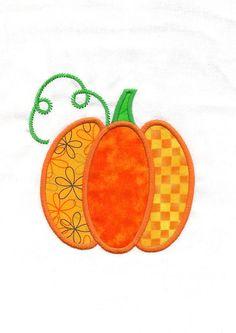 Pumpkin Machine Applique Embroidery Design via Etsy