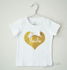 Shirtje goud glitters met naam