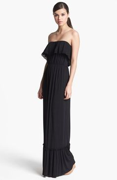 Ruffled Strapless Maxi Dress