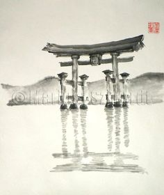 Items similar to Anniversary gift Torii Gate japanese art sumi-e asian decor wedding gift birthday gift japan mom gift japanese temple bridesmaid gift on Etsy Japan Painting, Ink Painting, Japanese Temple, Japanese Art, Mountain Tattoo Design, Torii Gate, Ink In Water, Japan Tattoo, Samurai Art
