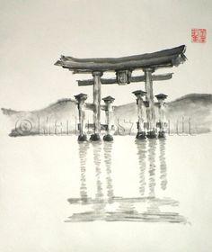 Anniversary gift Torii Gate japanese art sumie asian by Szmerdt, $30.00