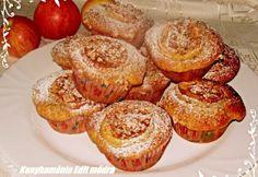 Almás muffin fahéjas dióval recept képpel. Hozzávalók és az elkészítés részletes leírása. Az almás muffin fahéjas dióval elkészítési ideje: 40 perc Muffins, Good Food, Goodies, Baking, Breakfast, Polish, Cakes, Kitchens, Hungarian Recipes