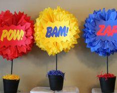 Superhero tissue paper pompom kit Pow Bam by TheLittlePartyShopNY