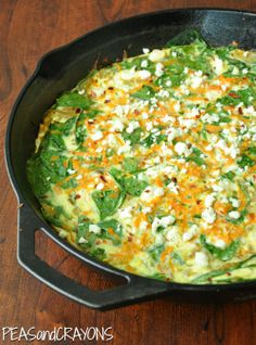 Sweet Potato and Spinach Fritatta... skillet-style! Ok, so NOT vegan, but awesome site for veggie dishes!!