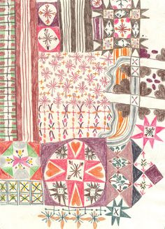 Monika Forsberg - Patterns- Lesson- collaborative grade project. Community quilt. Students create a variety of patterns and shapes. Hang on board in hallway. Each class from grade adds to the quilt. To complete it.