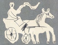 """grigiabot: """"Pablo Picasso Equipage, 1938 graphite and collage 6 5/8 x 8 1/2 inches """""""