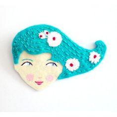 Handmade Embroidered Felt Brooch ($12) ❤ liked on Polyvore