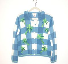 Perfect for cool evenings! Talbot's Blue White Windowpane Check Tropical Palm Trees Cardigan Sweater SZ Med #Talbots #Cardigan