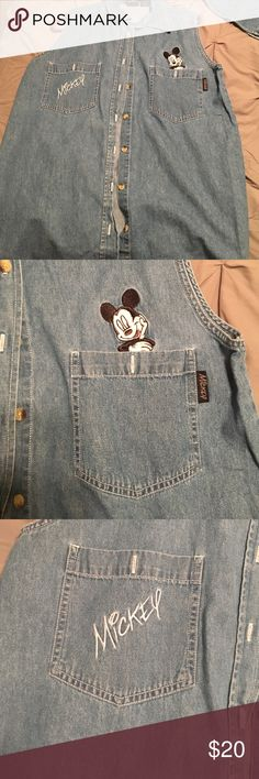 Vintage Denim Mickey Mouse Shirt Vintage! Super cute. Needs a new home! Great for a trip to Disney. 😊 Disney Tops Button Down Shirts