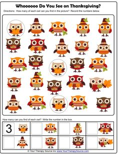 Thanksgiving owls visual discrimination activity freebie from www.YourTherapySource.com