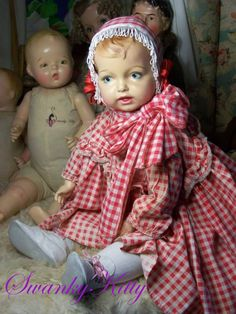 Early composition doll 1910's restored and costumed by SK (I made the outfit as well)