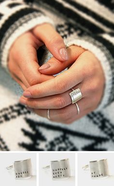 Stamped with teeny-tiny uppercase letters, this message ring makes quite the statement. The sterling silver plate features a song lyric, poem or saying of your choice, carefully stamped by hand. Your note will be aligned to the left and bottom sides of the rectangle, with any blank space left on top.