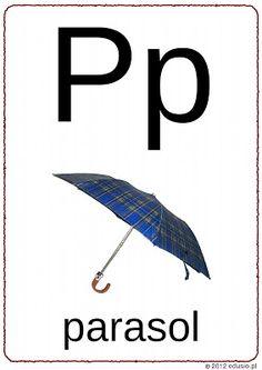 litery do wydrukowania-p-parasol Polish Language, Reading, Geography, Speech Language Therapy, Reading Books
