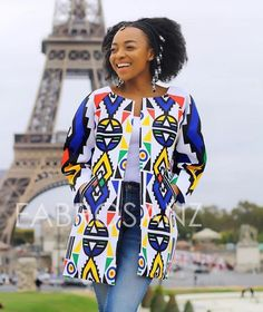 The Nguni Print Blazer by African Wear, African Dress, African Fashion, Special Occasion Outfits, African Clothes, Printed Blazer, Traditional Fashion, Kimono Top, Bucket