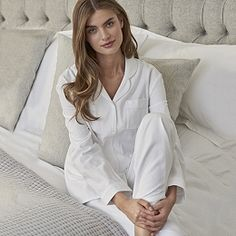 The White Company Herringbone Pyjamas With Bag - White Cotton Nighties, Cotton Pyjamas, Pajamas, White Company Pyjamas, The White Company, Lounge Outfit, Lounge Wear, Cashmere Robe, Luxury Nightwear