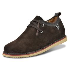 Coffee suede leather elevating casual shoes extra height 6.5cm / 2.56inches