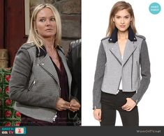 Sharon's grey colorblock moto jacket on The Young and the Restless.  Outfit Details: https://wornontv.net/60412/ #TheYoungandtheRestless
