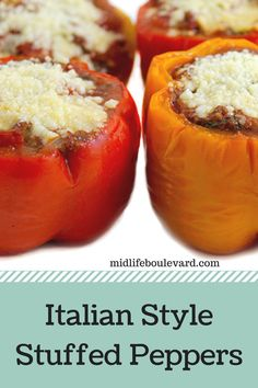 Italian Style Stuffed Peppers recipe with only 4 Weight Watchers points per serving. Easy Dinner Recipes, Simple Recipes, Dinner Ideas, Yummy Recipes, Yummy Food, Healthy Recipes, Easy Family Dinners, Easy Meals, Dinner Dishes