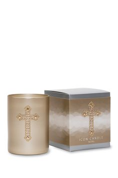 Cross Icon Candle in Gold Glass by Primal Elements on @HauteLook