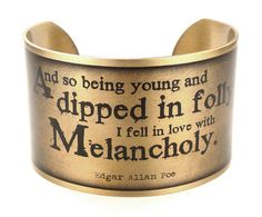 Edgar Allan Poe Melancholy Quote, Halloween Jewelry, Literary Quote Bracelet by accessoreads on Etsy, $41.81 AUD