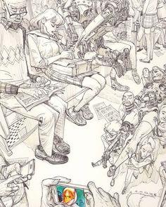 A fabulous Kim Jung Gi design mixing everyday life with fantasy - #kimjunggi #kimjunggius #korean #koreanart #koreanartist #draw #desenho #sketch #illustration #ilustração #realist #realistic #fantasia #fantasy #ficção #bus #onibus #character #characterdesign by atlan_coelho