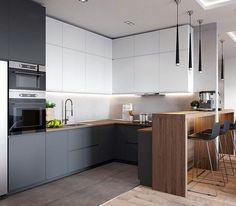If you are looking for Minimalist Kitchen Design Ideas, You come to the right place. Below are the Minimalist Kitchen Design Ideas. Kitchen Room Design, Luxury Kitchen Design, Kitchen Cabinet Design, Kitchen Layout, Home Decor Kitchen, Kitchen Living, Interior Design Kitchen, Home Kitchens, Open Concept Kitchen
