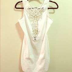 Nasty Gal Sexy White Lace Backless Bodycon Dress Only worn once! Bodycon dress from Nasty Gal with breathable, relaxed fit. Top has intricate white crochet/lace neckline with button in back at neck (no zipper). Backless to lower back! Opaque cotton & not see through Nasty Gal Dresses Mini