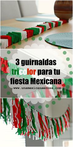 Cómo hacer 3 guirnaldas tricolor para tu Fiesta Mexicana  by www.unamexicanaenusa.com Independence Day Decoration, Mexican Independence Day, Diy Crafts To Do, Fall Crafts, Crafts For Kids, Italian Party Decorations, School Decorations, Fiesta Theme Party, Party Themes