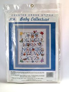 The ABCs Sampler Counted Cross Stitch Kit 14 x 18 inches Nursery Decor Rose Kennedy JCA Baby Collection 04407 New in Package