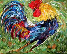 Commission ROOSTER Original Oil painting MODERN PALETTE knife texture impressionism by Karen Tarlton via Etsy