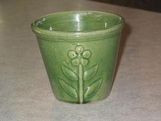 1920's yellowware McCoy small green glaze flower pot