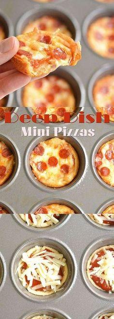 Deep Dish Mini Pizzas More Pizza Appetizers, Appetizers For Party, Appetizer Recipes, Snack Recipes, Cooking Recipes, Pizza Snacks, Snacks Ideas, Pizza Recipes, Easy Recipes