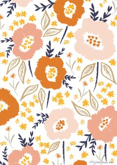 Summer days by Phyllida Coroneo 2014, pattern, painting, floral, orange, colour, spring, detail, drawing, illustration