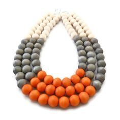 Multi Strand Necklace - Color Block Necklace - Wood Necklace - Multi Colored Necklace - Wooden Jewelry - Statement Necklace. $35.00, via Etsy.