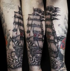 Sailor Ghost ship tattoo - 40 Boat Tattoo Designs  <3 <3