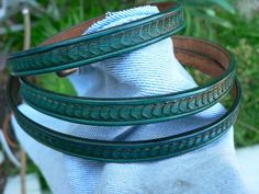 Skinny Tooled Leather Belt in Teal Blue with Beautiful Scallop Shell Design by AcrossLeather on Etsy, $34.00
