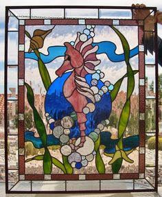 Sea Horse With Bubbles - Delphi Stained Glass