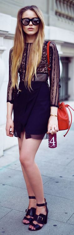Three Floor Black Chiffon Bottom Lace Top Materials Mix Mini Dress by Kayture