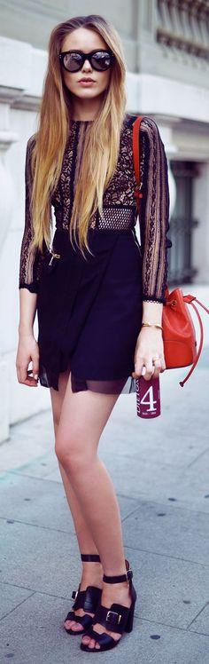 Three Floor Black Chiffon Bottom Lace Top Materials Mix Mini Dress by Kayture