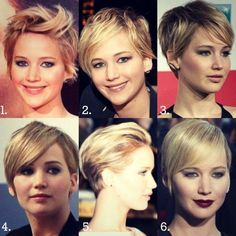 """Jennifer Lawrence Short Haircuts: Cute Straight Hair (Except no. 1. That one looks like """"There's Something about Mary"""")"""