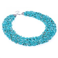 Fashion Golden Tone Chain Water Drop Olivary Colorful Resin Beads Pendant Bib Necklace Jerollin