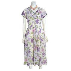 L'Aiglon Vintage 1940s Dress Sheer Puckered Nylon Swing