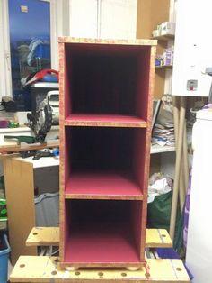 Upcycled burgundy shelf unit