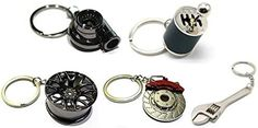 Five Piece Auto Parts Metal Key Chain Set - Spinning Turbo Keychain, Six Speed Manual Gearbox Keychain, Wheel Tire Rim Keychain, Red Brake Rotor Keychain, Silver Wrench Keychain Six Speed, Rv Accessories, Brake Rotors, License Plate Frames, Car Shop, Brand Packaging, Key Chain, Motorbikes
