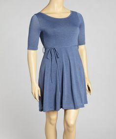 Take a look at this Blue Tie Waist Dress - Plus by Poliana Plus on #zulily today!