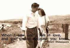 When I saw you I fell in love, and you smiled because you knew.  Perfect!