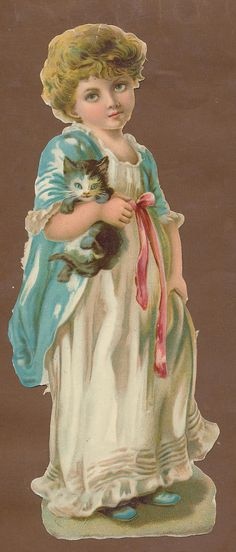 S9719 Victorian Die Cut Scraps V Large Girl with Cat | eBay